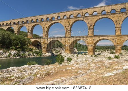 Side View Od The Pont Du Gard