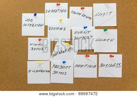 To-do Tasks Affixed To The Corkboard.