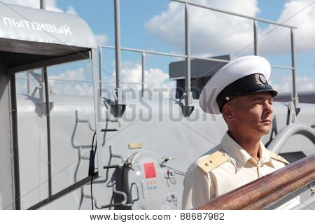 SEVASTOPOL, CRIMEA, UKRAINE - AUGUST 17, 2012: Midshipman on the deck of Russian frigate