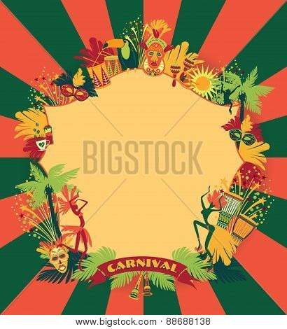 Brazilian Carnival. Vector Colorful Background.