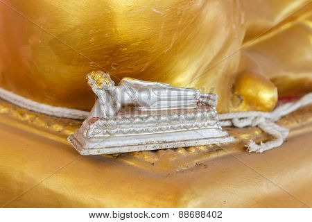Silver Reclining Buddha Figurine
