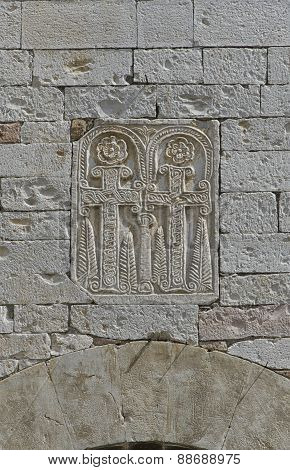 Religious Symbol Carved On The Stone