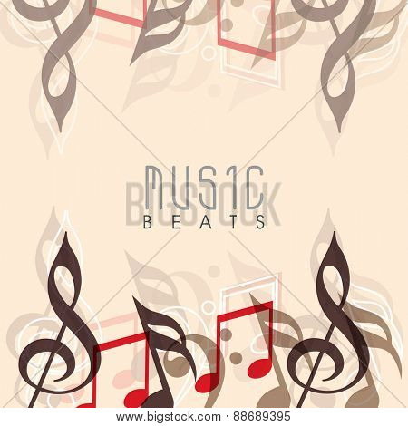 Musical notes decorated background with stylish text Music Beats.