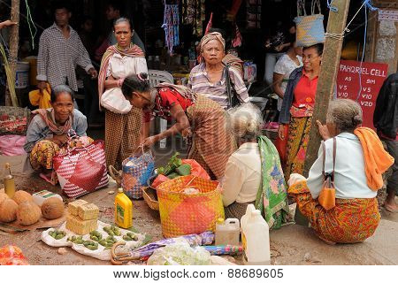 Traditional Tribal Market On An Island Timor, Indonesia