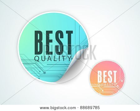 Shiny sticker, tag or label for best quality products.