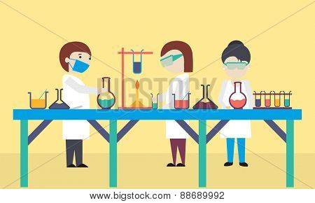 Cartoon of scientists working in science laboratory on yellow background.