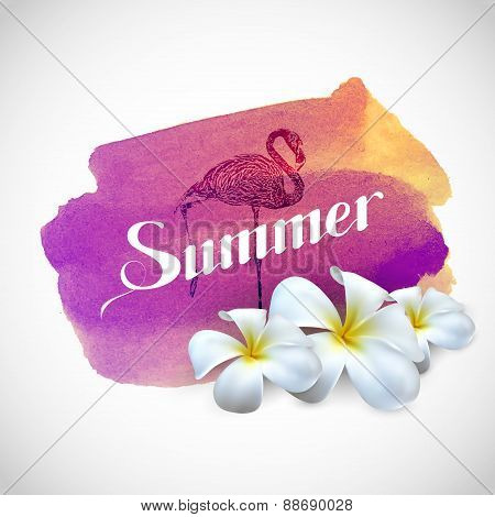 Summer label with exotic flowers and flamingo bird