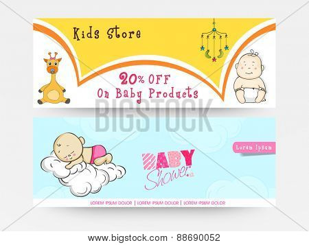 Website header or banner set for baby shower celebration with baby products sale offer for kids store.