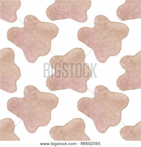 Seamless watercolor pattern with cow hide on the white background, aquarelle. Vector illustration. H