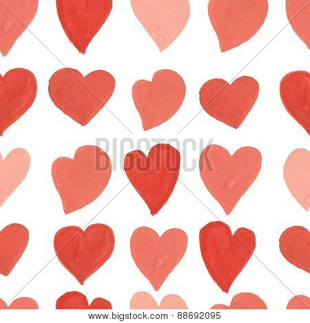 Watercolor red and pink hearts seamless pattern. Vector background.