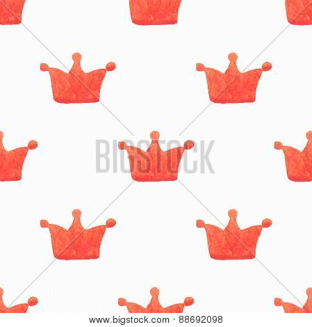 Seamless watercolor pattern with orange crowns, aquarelle.  Vector illustration.