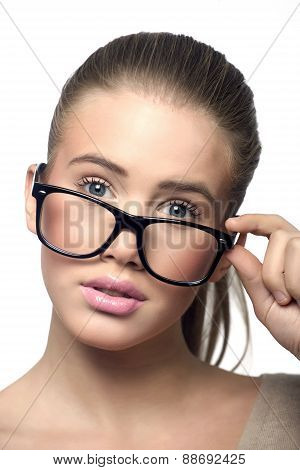 Woman with glasses fashion portrait
