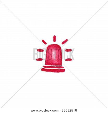Watercolor red flashing emergency light on the white background, aquarelle pencil.  Vector illustrat