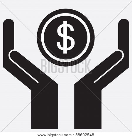 Hand showing dollar sign.