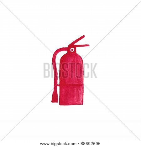 Watercolor fire extinguisher on the white background, aquarelle pencil.  Vector illustration. Hand-d