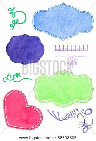 Set watercolor labels design elements and flourishes, vintage frame handmade aquarelle. Vector illus