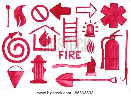 Firefighting icons set. Watercolor signs on the white background, aquarelle pencil.  Vector illustra