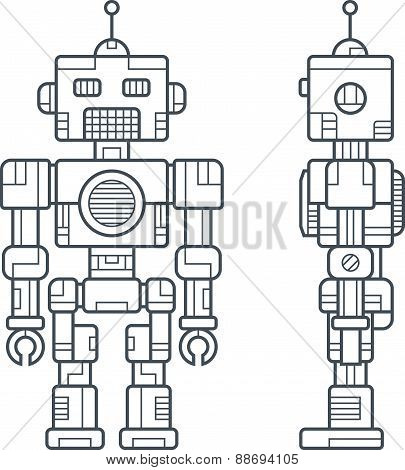 Simple Line Retro Robot