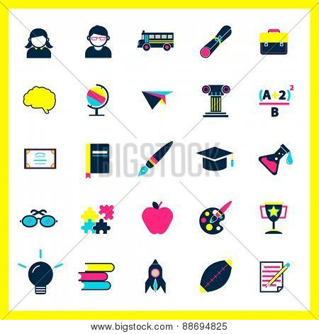 Education Studying Learning Activity Icons Set Concept