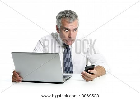 Surprised Senior Businessman Gesture Mobile Phone