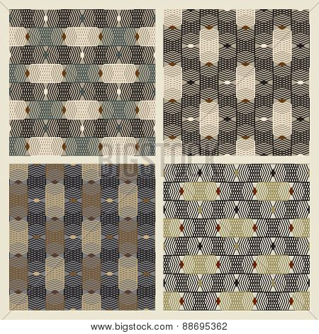 Set Of Four Seamless Geometric Texture With A Pattern Of Staggered