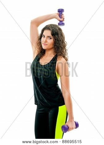 young sporty woman with barbells