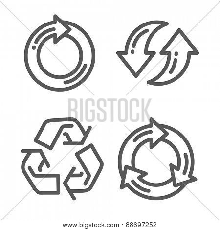 Set of recycle arrow icon thin line for web and mobile, modern minimalistic flat design. Vector dark grey icon on light grey background.