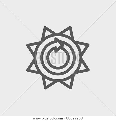 Sun with spiral arrow icon thin line for web and mobile, modern minimalistic flat design. Vector dark grey icon on light grey background.