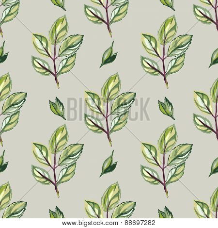 Cute Simple Floral Watercolor Seamless Pattern With Green Leaves
