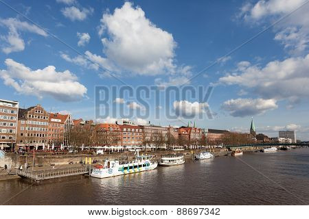 Weser River In Bremen, Germany