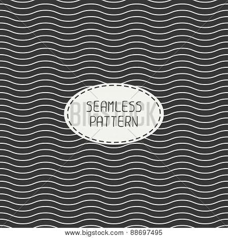 Geometric monochrome seamless wavy lines pattern. Irregular abstract striped. Wrapping paper. Scrapb