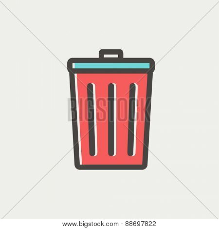 Trash can icon thin line for web and mobile, modern minimalistic flat design. Vector icon with dark grey outline and offset colour on light grey background.