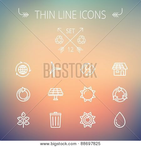 Ecology thin line icon set for web and mobile. Set includes- recycle, sun, water drop, garbage bin, windmill, leaves, global icons. Modern minimalistic flat design. Vector white icon on gradient mesh