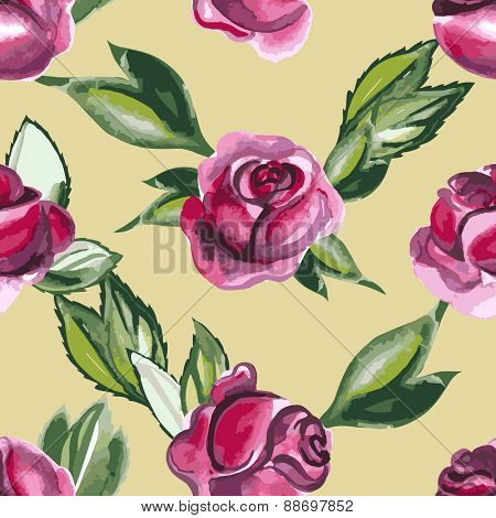 Simple Floral Watercolor seamless pattern with roses and leaves