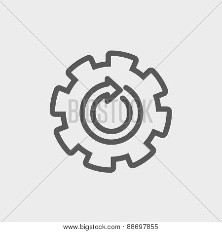 Gear wheel with arrow icon thin line for web and mobile, modern minimalistic flat design. Vector dark grey icon on light grey background.