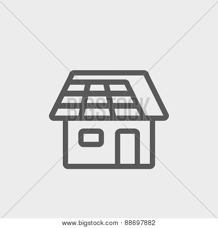 House icon thin line for web and mobile, modern minimalistic flat design. Vector dark grey icon on light grey background.