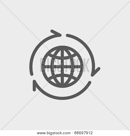 Globe with arrow around icon thin line for web and mobile, modern minimalistic flat design. Vector dark grey icon on light grey background.