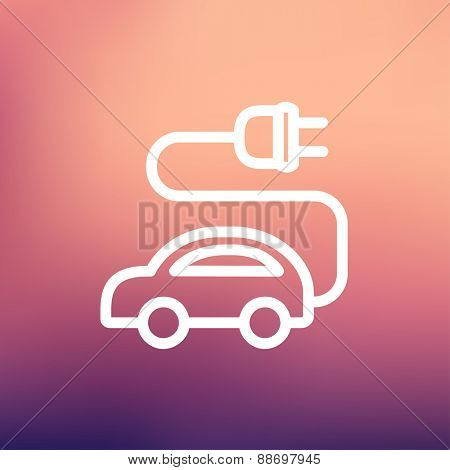 Electric car icon thin line for web and mobile, modern minimalistic flat design. Vector white icon on gradient mesh background.