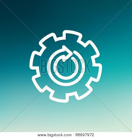 Gear wheel with arrow icon thin line for web and mobile, modern minimalistic flat design. Vector white icon on gradient mesh background.