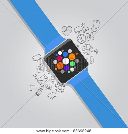wearable vector smart watches with icon