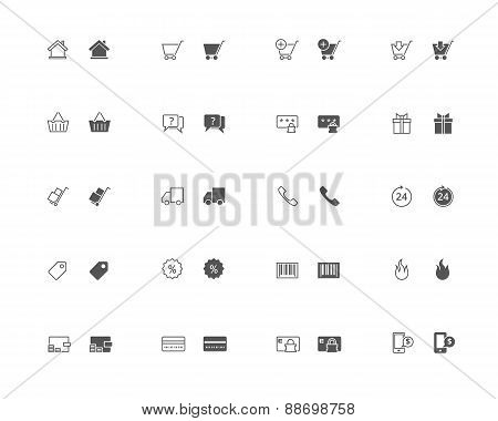 E-commerce Outline And Filled Icon Set
