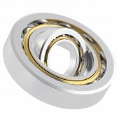 stock photo of friction  - Isolated realistic whirling bearing in the bearing with light scratches on a white background - JPG