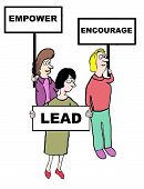 stock photo of encouraging  - Cartoon of businesswomen holding signs encouraging leadership - JPG