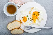 picture of chives  - Two fried eggs with chives on white plate - JPG