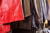foto of jacket  - closeup of some used leather clothes - JPG