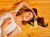 picture of sauna woman  - Young woman in sauna with soap - JPG