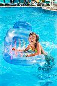 image of mattress  - Child swimming on inflatable beach mattress - JPG