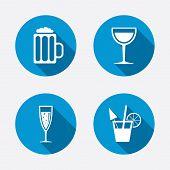 stock photo of sparkling wine  - Alcoholic drinks icons - JPG