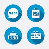 stock photo of gift basket  - Sale speech bubble icons - JPG