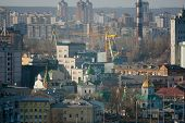 picture of kiev  - Kiev business and industry city landscape on river bridge and buildings - JPG